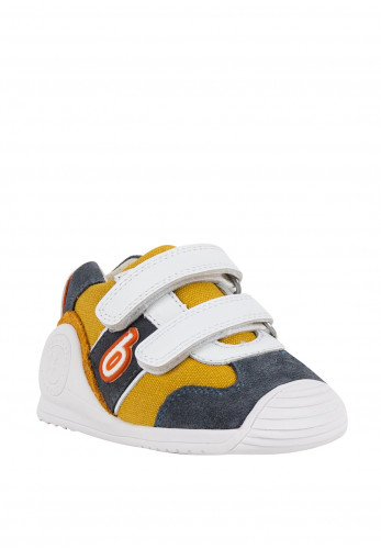 Biomecanics Baby Boys Velcro Strap Canvas Trainers, Mustard