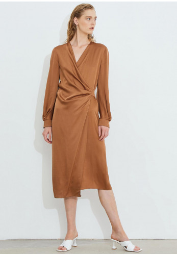 Birélin Satin Wrap Dress, Caramel