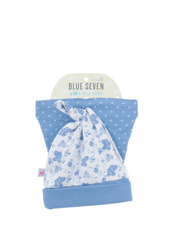 Blue Seven Baby Girls Hat and Bib Set, Blue