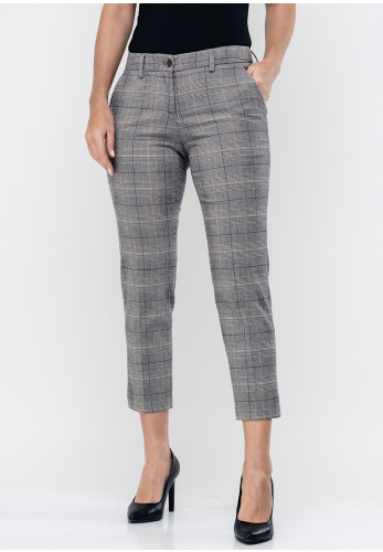 Brax Maron Check Slim Cropped Trousers, Grey