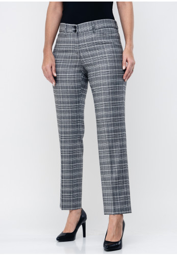 Brax Celine Check Slim Short Length Trousers, Grey
