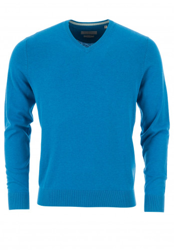 Bugatti Fine Cotton V-Neck Sweater, Blue