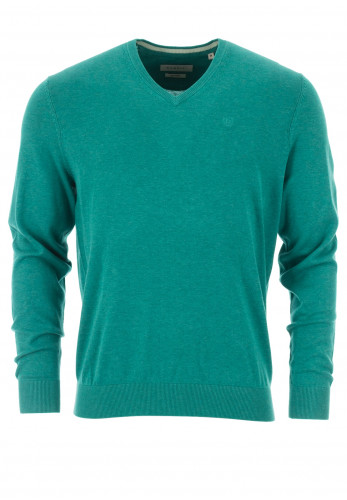 Bugatti Fine Cotton V-Neck Sweater, Green