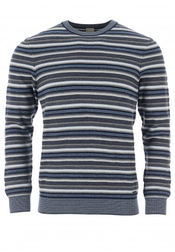 Bugatti Striped Cotton Crew Neck Sweater, Blue