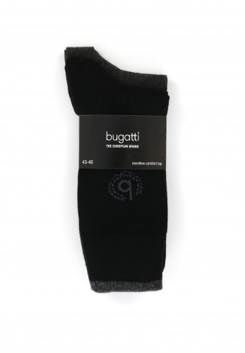 Bugatti 2 Pack Logo Socks, Black