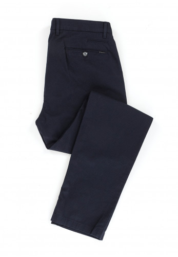 Bugatti Small Checked Straight Chinos, Navy