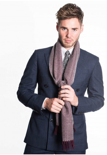 Weaver & Wilde Herringbone Scarf, Burgundy & Grey