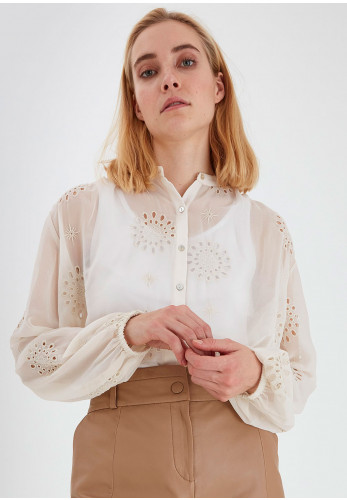 b.young Sheer Cuff Sleeved Blouse, Birch