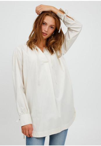 B Young Tie Detail Tunic Blouse, Beige