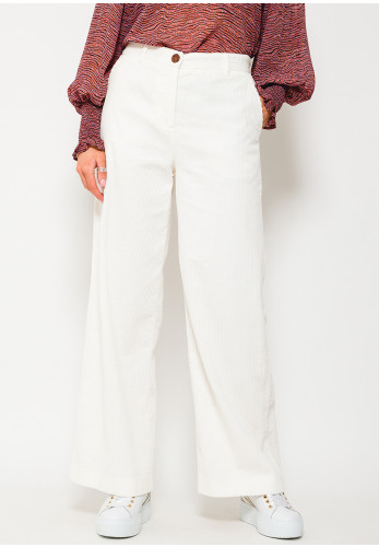 b.young Wide Leg Cord Trousers, Off White