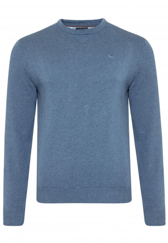 Magee 1866 Carn Knitted Round Neck Sweater, Blue