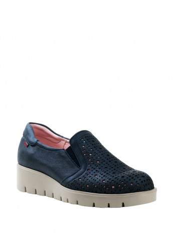 Callaghan Womens Leather Laser Cut Wedged Shoes, Dark Blue