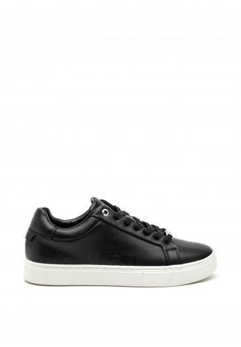 Calvin Klein Womens Leather Chunky Trainer, Black