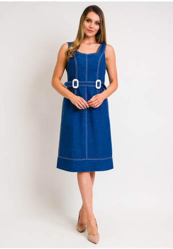 Camelot Linen Effect Belted Shift Dress, Blue