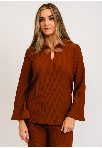 Camelot Ribbed Hooded Pullover, Rust