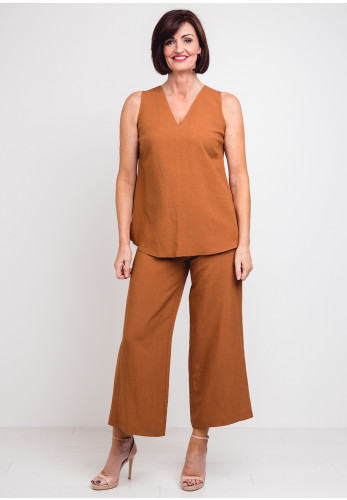 Camelot Linen Blend Top & Trousers, Brown