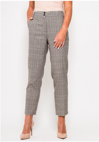 Camelot Check Ankle Grazer Trousers, Grey