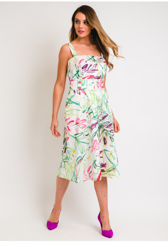 Camelot Abstract Print Belted Flared Dress, White Multi