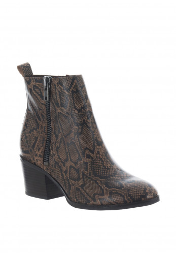 Caprice Leather Snake Block Heel Boots, Brown