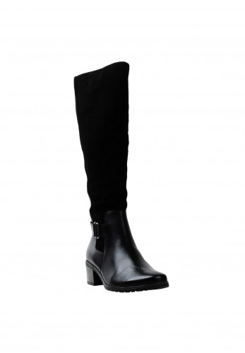Caprice Suede & Leather Long Boots, Black