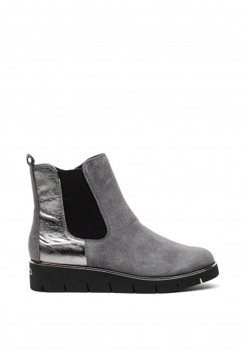 Caprice Leather Suede Wedged Ankle Boots, Grey