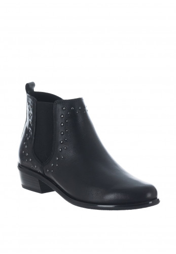 Caprice Studded Leather Chelsea Boots, Black