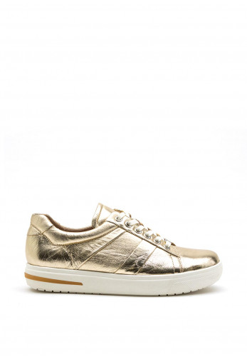 Caprice Metallic Lace Up Trainer, Gold