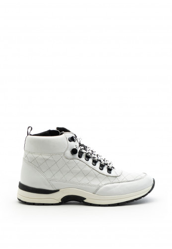Caprice Metallic Quilted Leather Trainer Boot, White