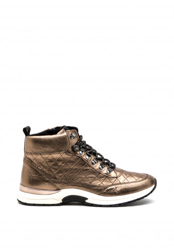 Caprice Metallic Quilted Leather Trainer Boot, Gold