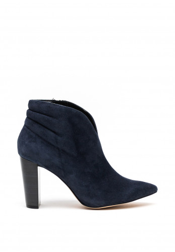 Caprice Pointed Toe Chucky Heel High Cut Boots, Navy