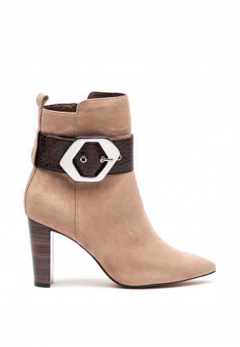 Caprice Pointed Toe Oversize Buckle Boots, Taupe