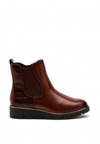 Caprice Small Wedge Leather Ankle Boot, Brown