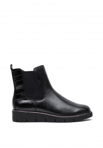 Caprice Croc Panel Leather Wedged Boots, Black