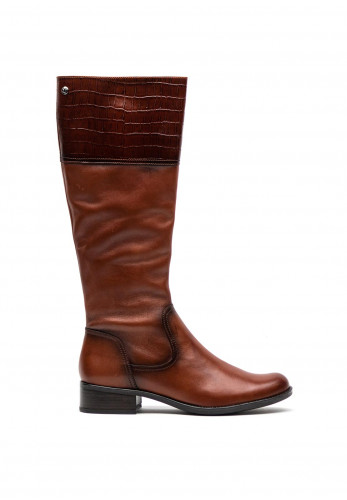 Caprice Leather Long Leg Croc Panel Cuff Boots, Brown