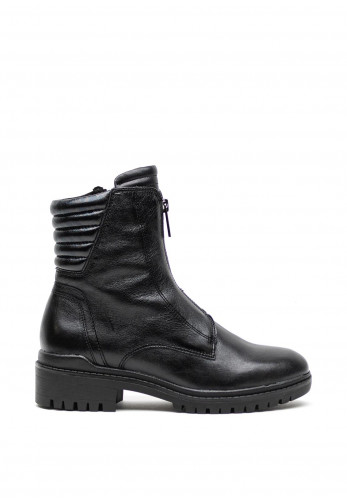 Caprice Leather Front Zip Boots, Black