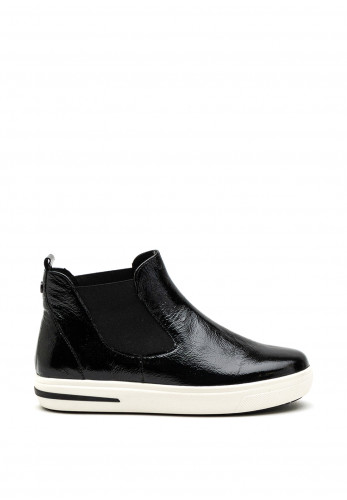 Caprice Leather Patent Trainer Boot, Black