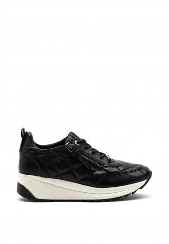 Carmela Quilted Leather Wedge Trainer, Black