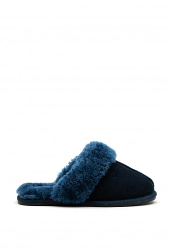 Carmela Faux Suede Furry Slippers, Navy
