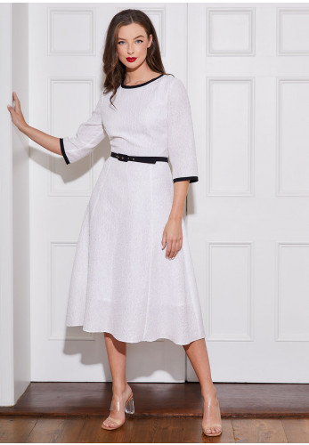 Caroline Kilkenny Bonnie Textured Flared Dress, White