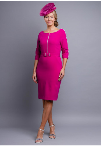 Claudia C Malaga Diamante Trim Dress, Fuschia Pink