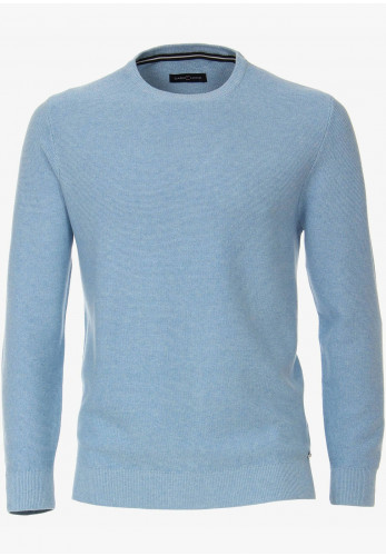 Casa Moda Round Neck Knitted Sweater, Light Blue