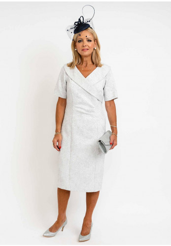 Claudia Floral Embossed V-Neck Dress, Silver
