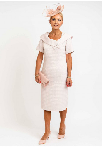 Thea Quilted Diamond Cowl Neck Dress, Powder Pink