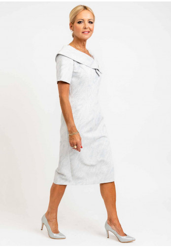 Thea Dot Embossed Cowl Neck Dress, Pale Blue Silver