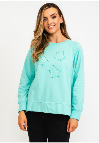 The Casual Company Frankie Star Applique Sweater, Mint