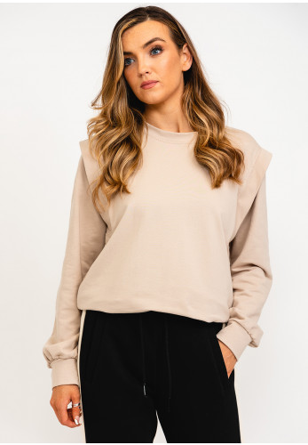 The Casual Company Sadie Shoulder Panel Sweater, Cream