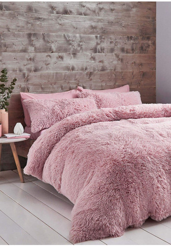 Catherine Lansfield Cuddly Duvet Cover Set, Blush
