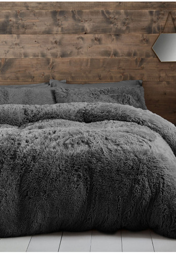 Catherine Lansfield Cuddly Duvet Cover Set, Charcoal