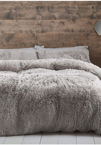Catherine Lansfield Cuddly Duvet Cover Set, Silver Grey