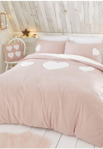 Catherine Lansfield Cosy Heart Duvet Cover & Pillowcase Set, Pink